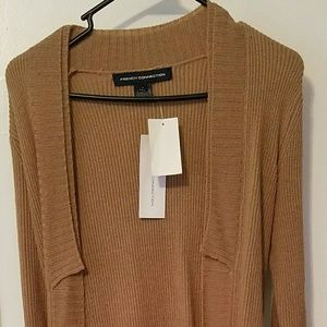 New French Connection Camel Wool Sweater Coat - S